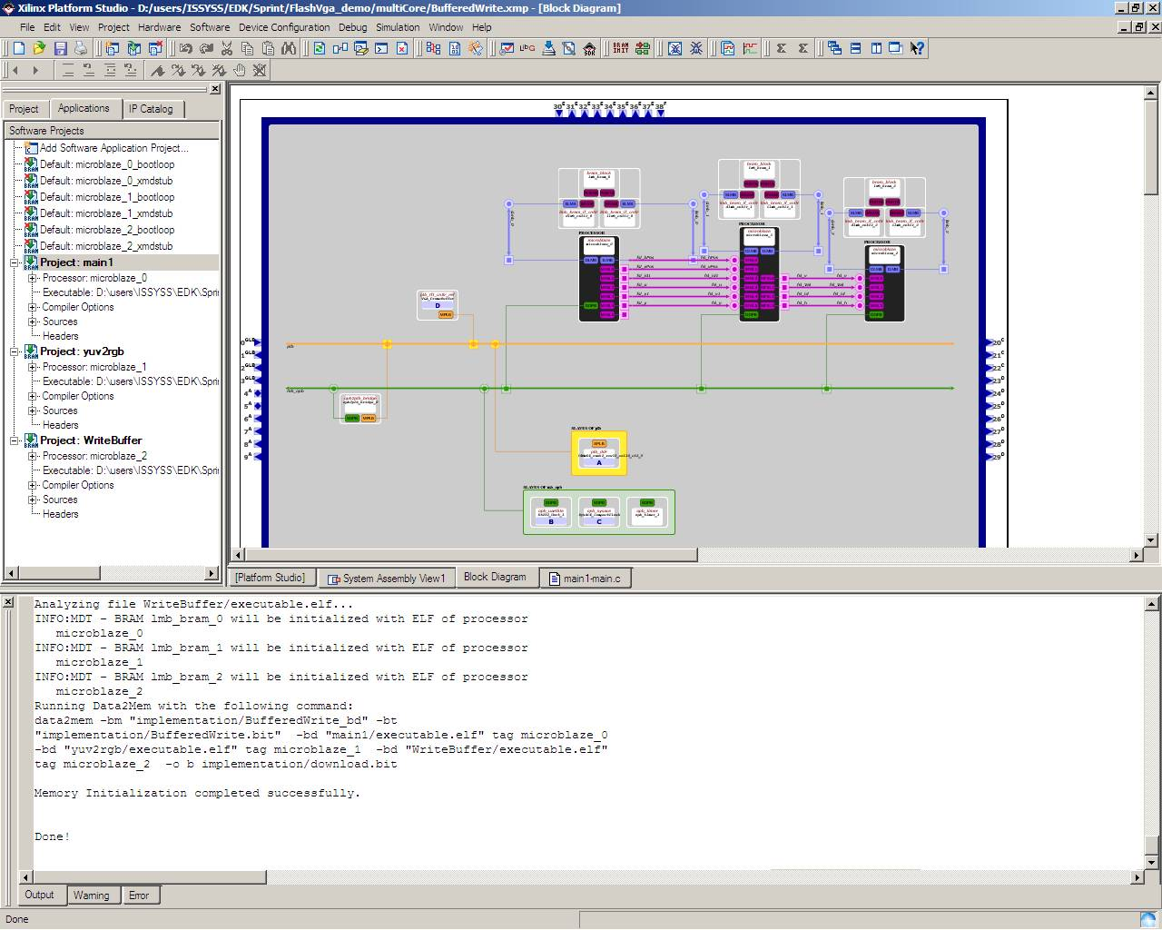 Figure 3: Design example in the Xilinx EDK design environment